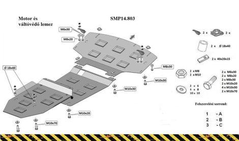 Mercedes ML W164, 2005 - 2011 | SMP14.803 - Motor- és váltóvédő lemez