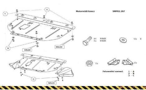Audi A4 3, 2005-2008 | SMP02.007K - Motorvédő lemez