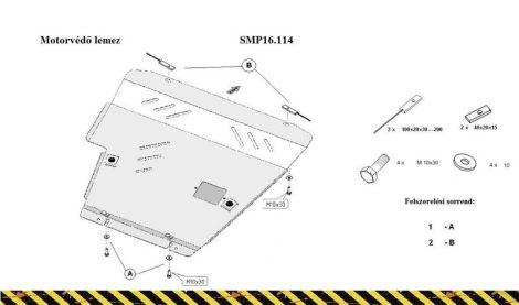 Nissan Note, 1.6, 1.8. 2007 - 2013 | SMP16.114 - Motorvédő lemez