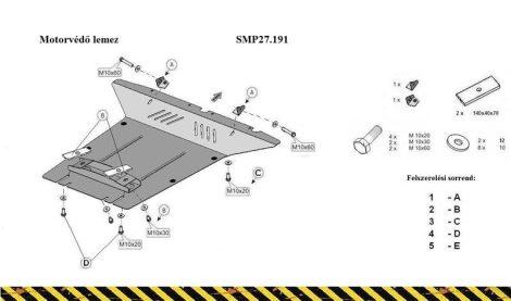 VW Touareg, 2.0, 2.5 Tdi ,3.0 Tdi ,3.2 V6, 2012 - | SMP27.191 - Motorvédő lemez